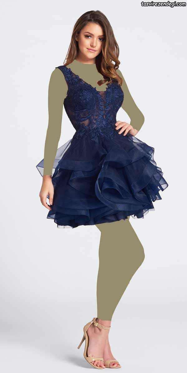 لباس مجلسی کوتاه دخترانه دامن پفی