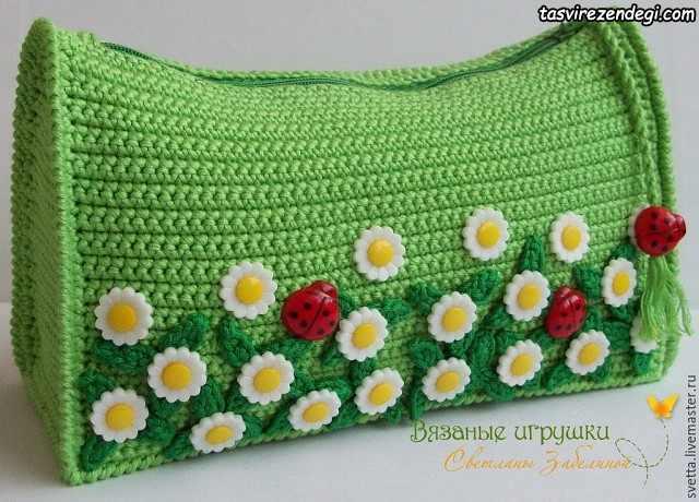کیف زنانه قلاب بافی سبز تزیین شده با دکمه
