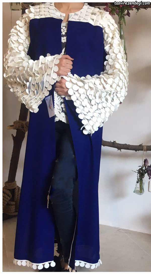 مدل مانتو مجلسی تابستانی بلند آبی آستین تور