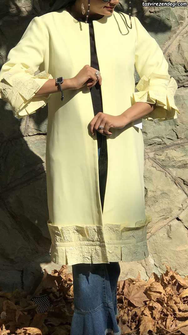 مدل مانتو مجلسی تابستانی جدید لیمویی