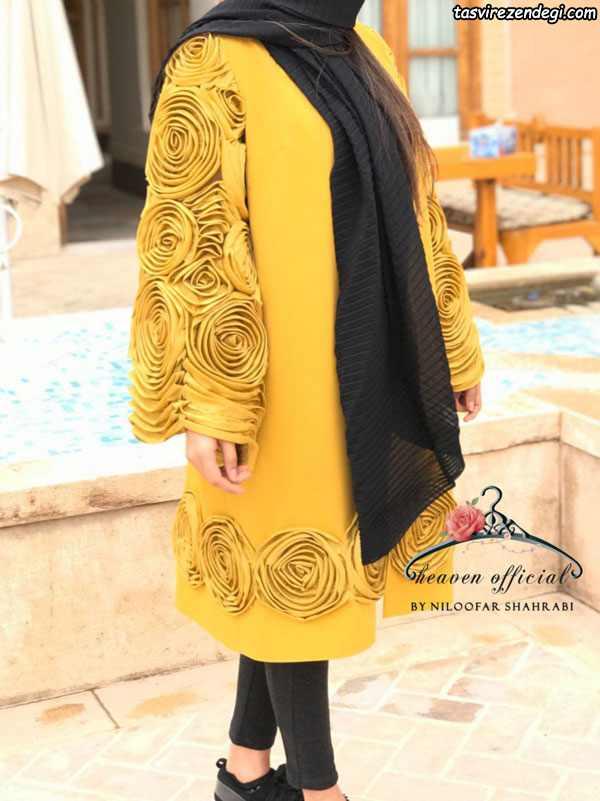 مدل مانتو مجلسی تابستانی گل برجسته خردلی