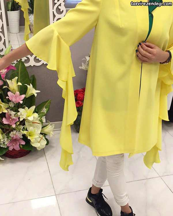 مدل مانتو مجلسی تابستانی زرد