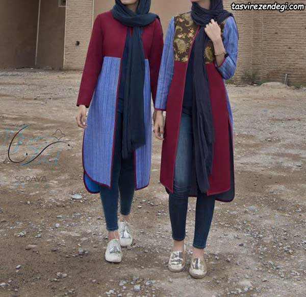 مدل مانتو اسپرت تابستانه دخترانه دو رنگ