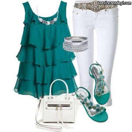 ست تابستانی تاپ سبز و شلوار جین سفید