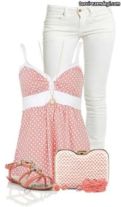ست تابستانی دخترانه تاپ دو بندی و شلوار جین سفید