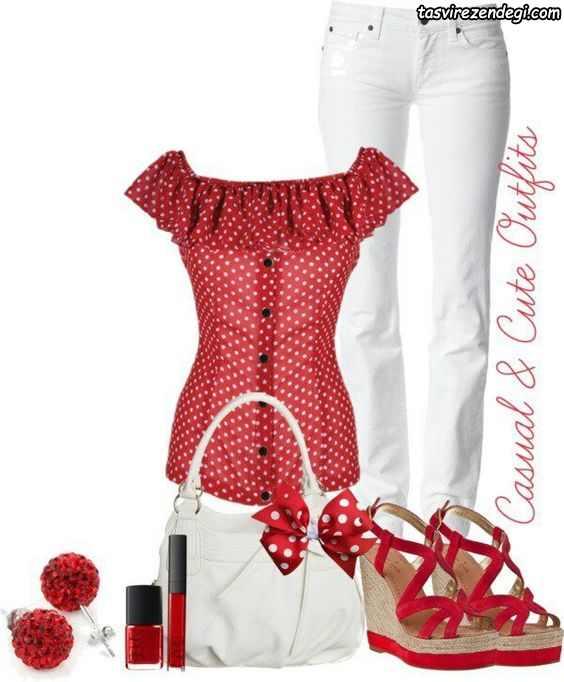 ست تابستانی جدید شومیز قرمز خال دار با جین سفید