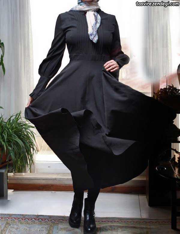 مدل جدید مانتو مشکی بلند