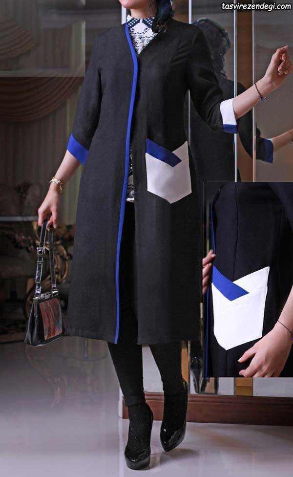مدل مانتو مشکی خرد کار سفید و آبی