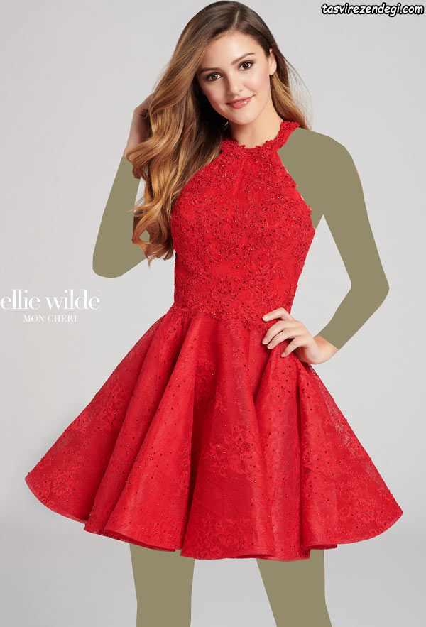 لباس مجلسی کوتاه دخترانه قرمز با دامن کلوش