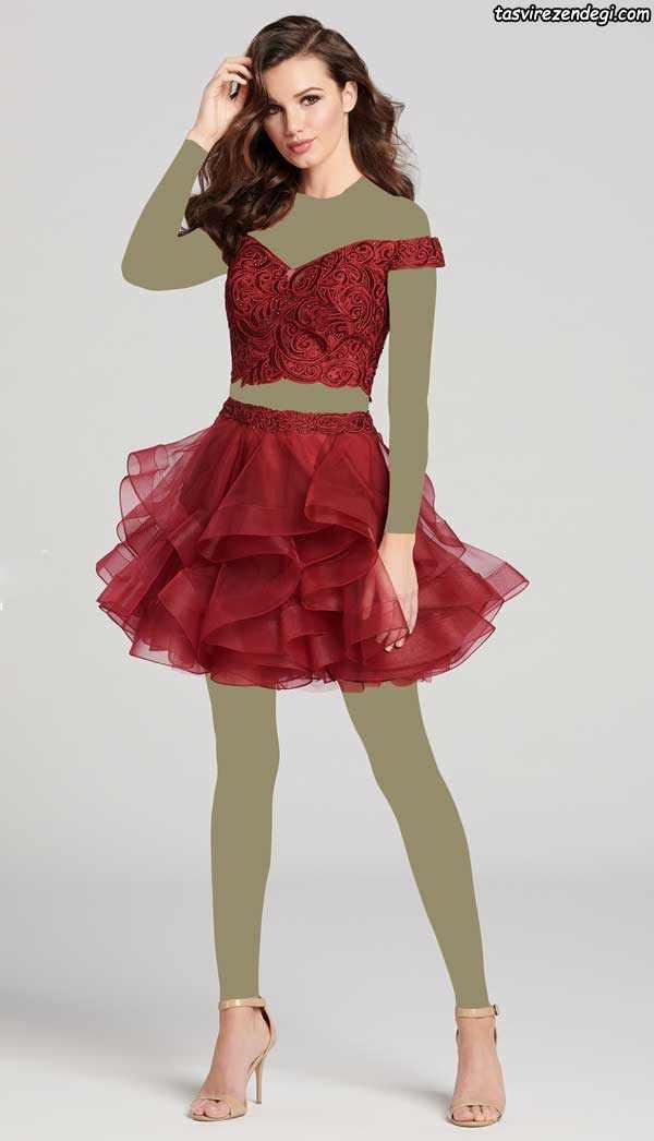 لباس مجلسی دامن پفی دو تکه کوتاه قرمز