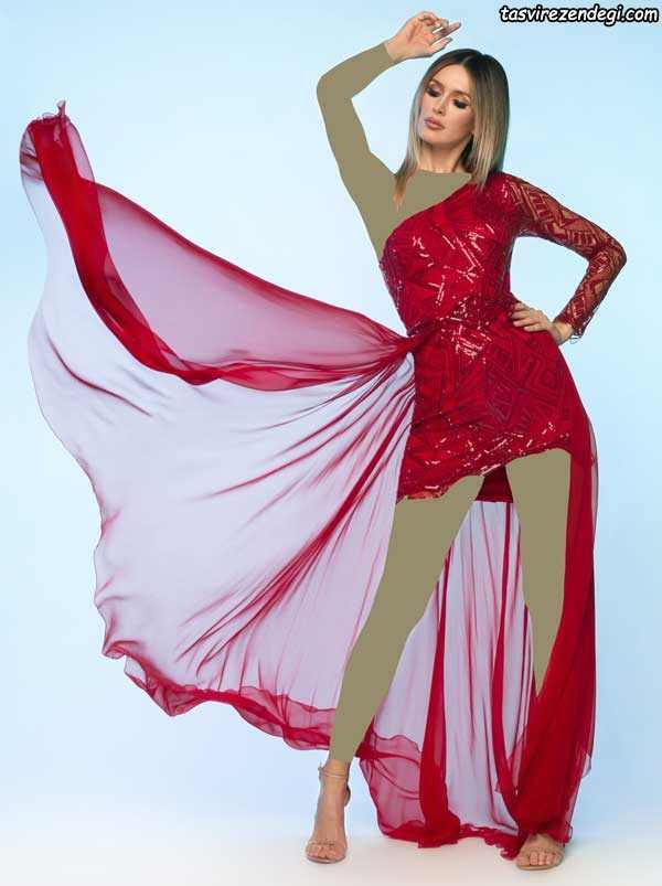 مدل جدید لباس مجلسی کوتاه با والان دامن تور