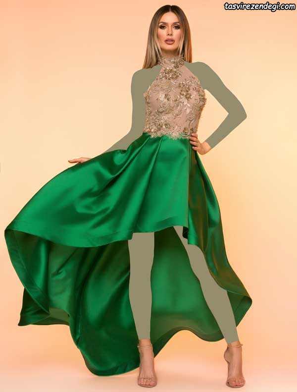 لباس مجلسی بالاتنه گیپور دامن دنباله دار سبز