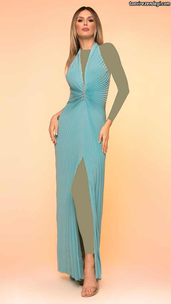 مدل لباس مجلسی جدید 2019 آبی بلند