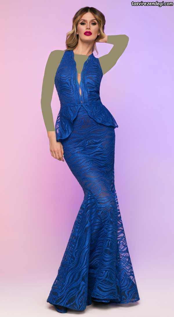 لباس مجلسی دامن ماهی آبی تیره