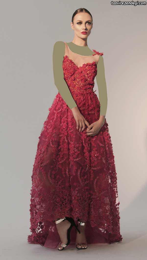لباس مجلسی تور قرمز دامن دنباله دار