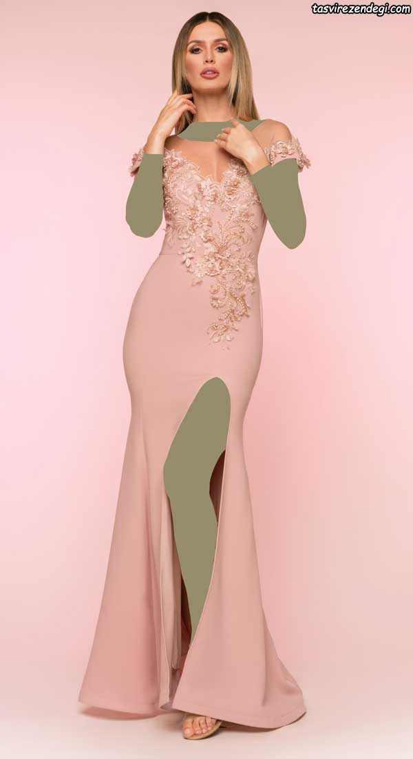 لباس مجلسی گل بهی تزیین شده با گل های برجسته
