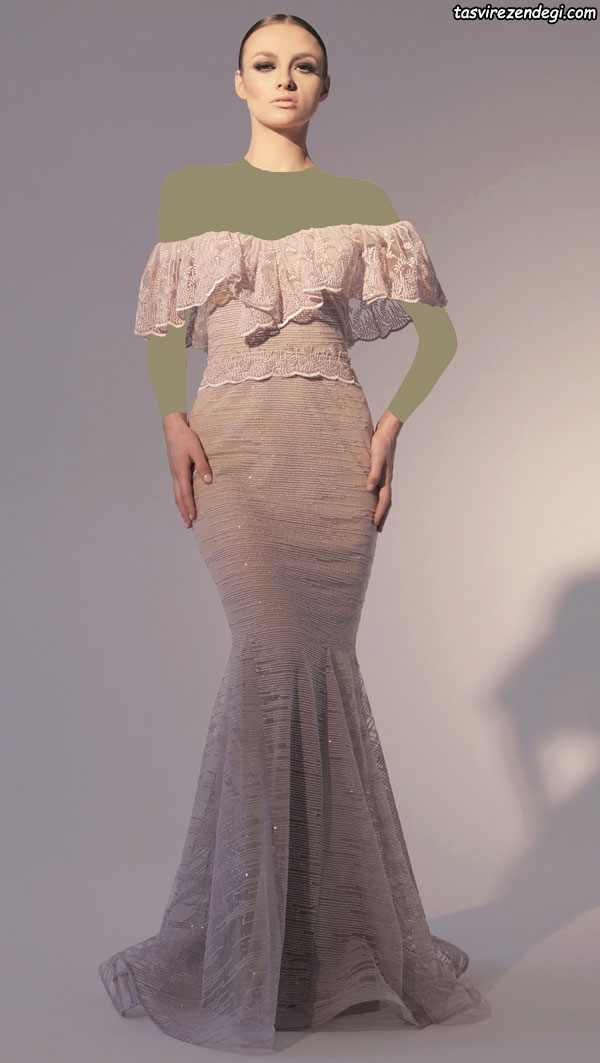 لباس مجلسی مدل پری دریایی سرشانه باز