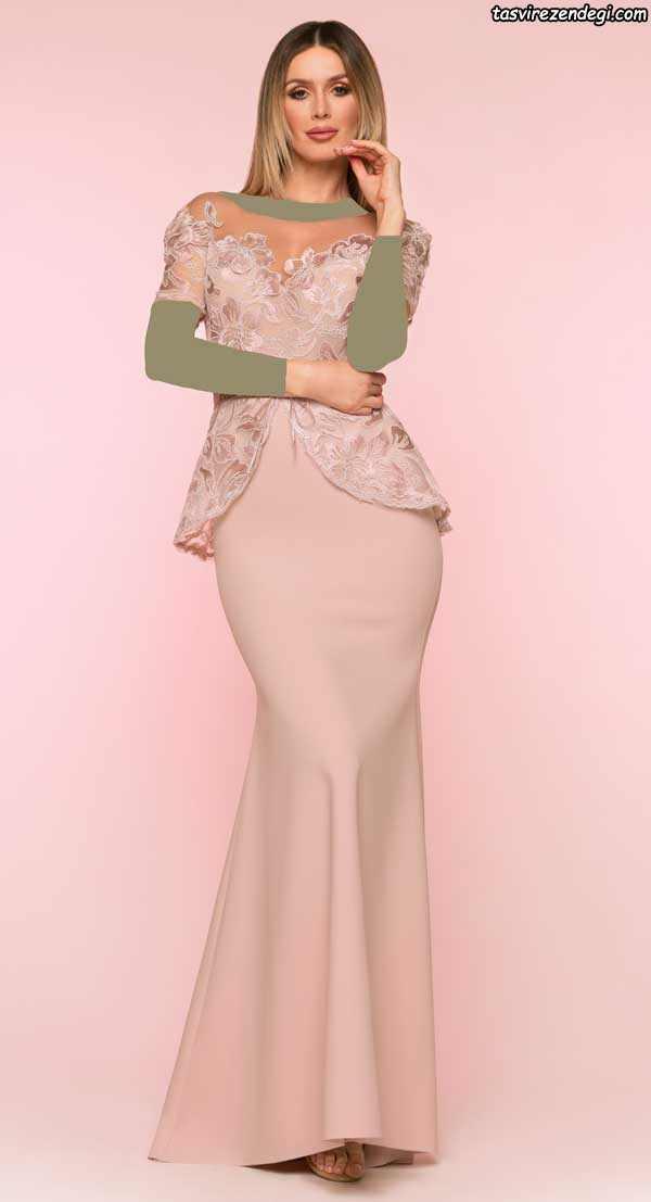 مدل جدید لباس مجلسی گلبهی رنگ