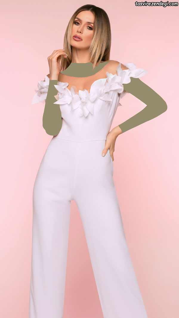 لباس مجلسی سفید با شلوار