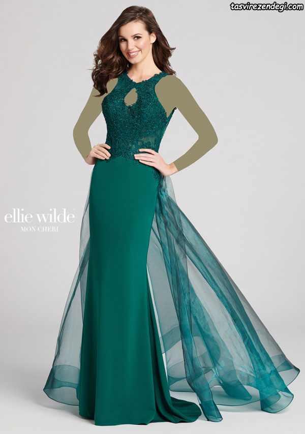 لباس مجلسی بلند سبز با والان حریر