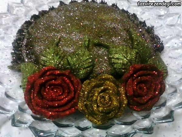 تزیین سینی حنا به شکل گل رز
