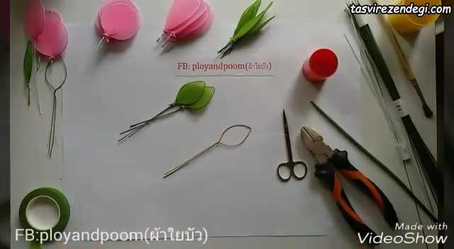 آموزش ساخت شاخه گل رز جورابی