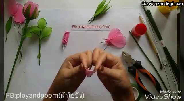آموزش درست کردن گل رز جورابی