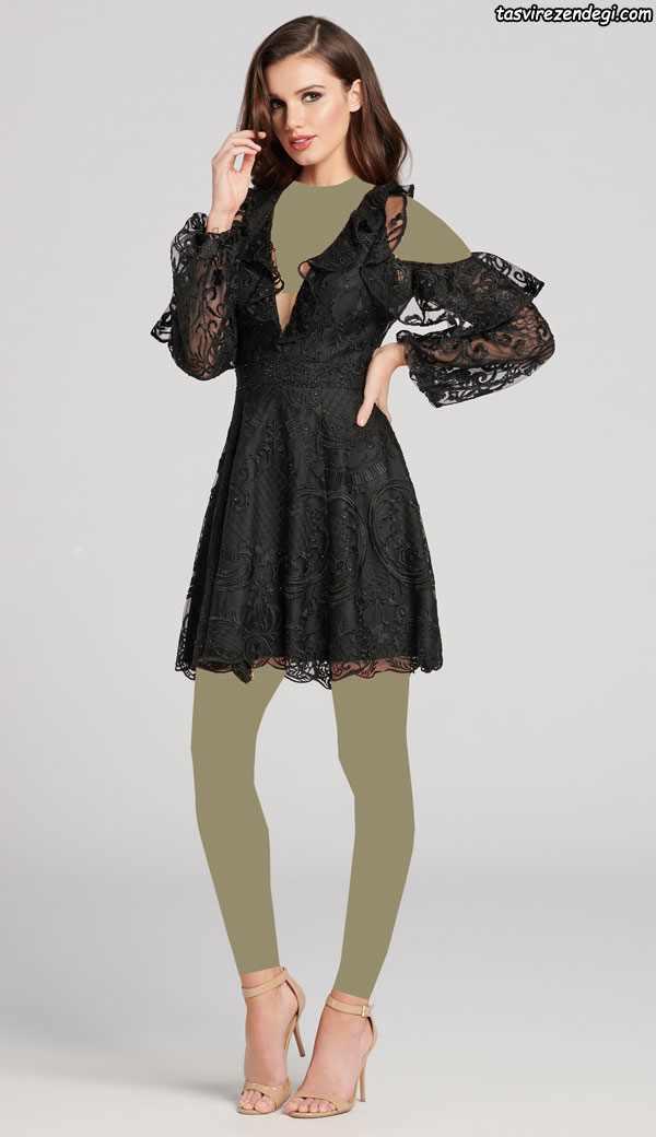 لباس تور مشکی مجلسی کوتاه , مدل لباس شب