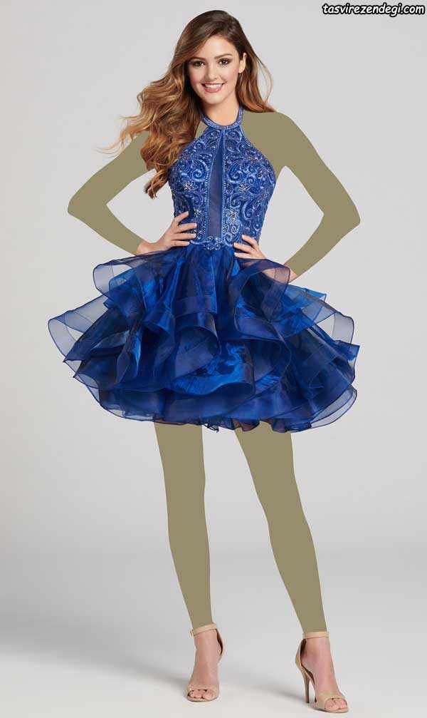 لباس مجلسی دامن پفی کوتاه آبی