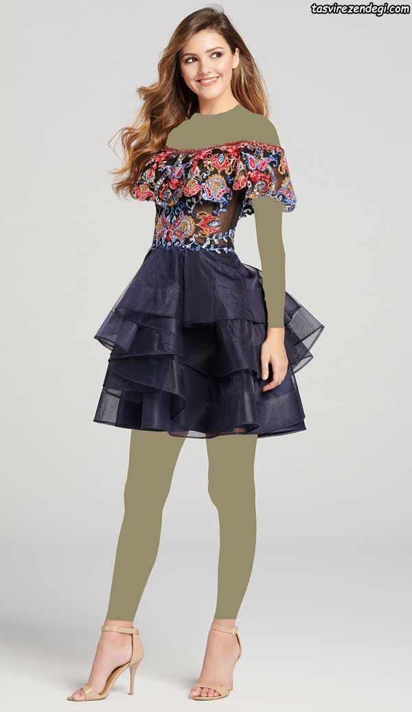 لباس مجلسی کوتاه دخترانه والان دار