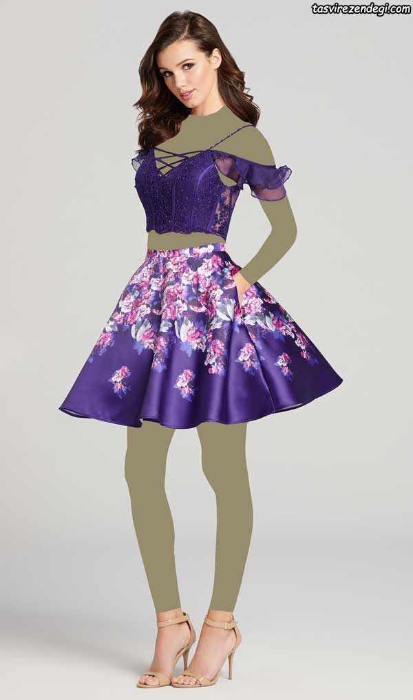 لباس مجلسی کوتاه دخترانه دو تکه