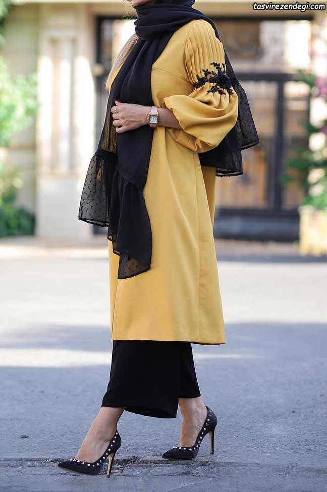 مانتو مجلسی زرد تزیین شده با اپلیکه