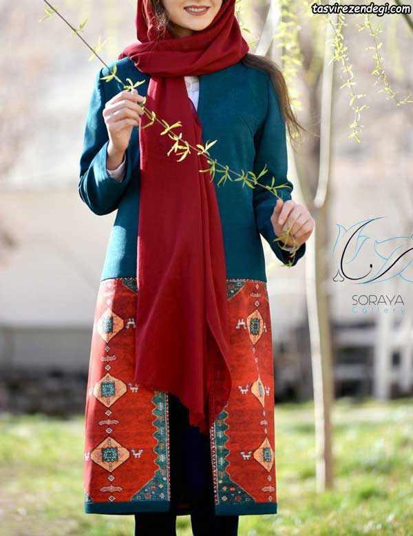 مانتو پاییزه سنتی رنگی دخترانه