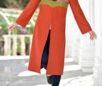 مدل مانتو سنتی پاییزه نارنجی رنگ