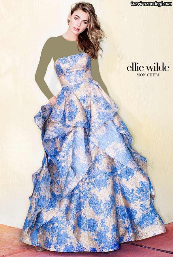 لباس مجلسی دامن پفی دکلته گلدار