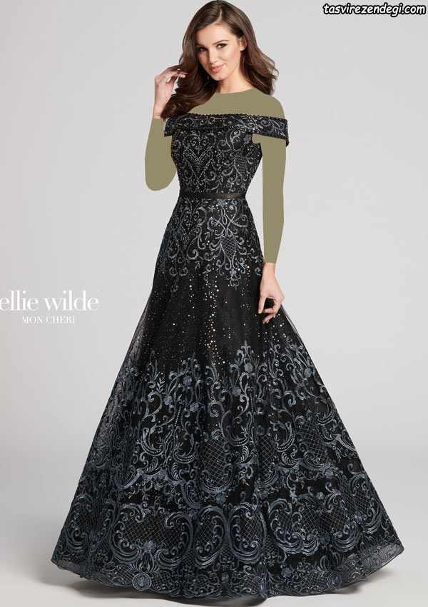 لباس تور مشکی مجلسی بلند , مدل لباس شب