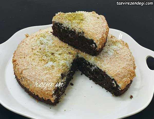 کیک مکرون نارگیلی