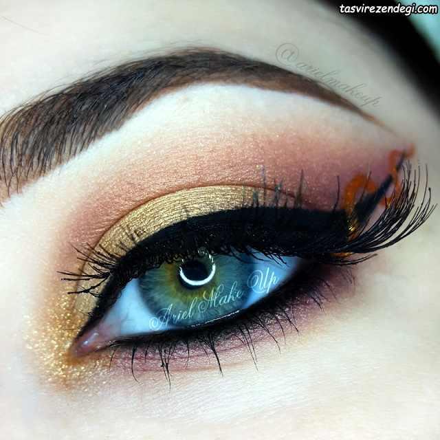 آرایش چشم سایه طلایی