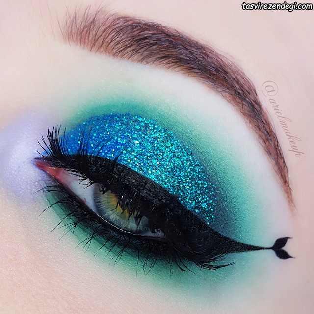 آرایش چشم دلفینی با سایه آبی