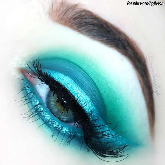 آرایش چشم سایه سبز آبی