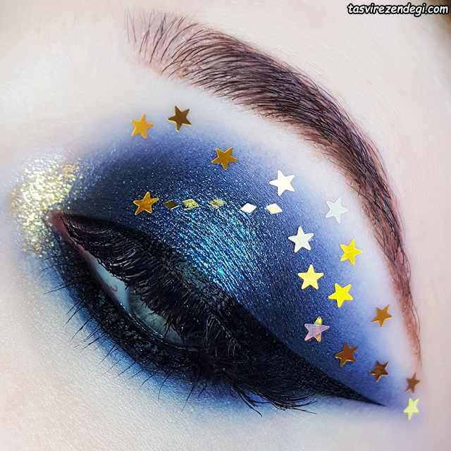 آرایش چشم مجلسی آبی تیره