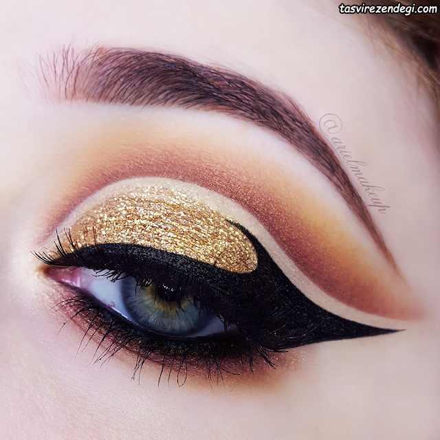 آرایش چشم عروس سایه طلایی