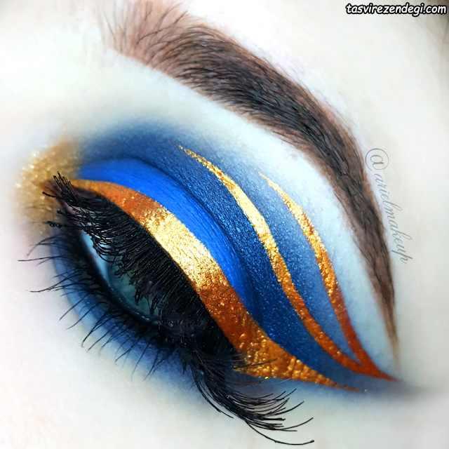 آرایش چشم سایه آبی , خط چشم طلایی