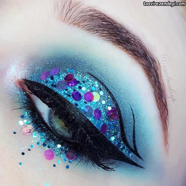 آرایش چشم اکلیلی تم آبی