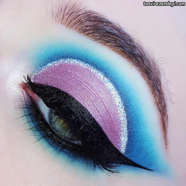 آرایش چشم بنفش و آبی