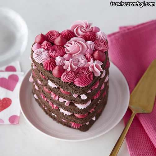 تریین کیک قلبی شکل با ماسوره