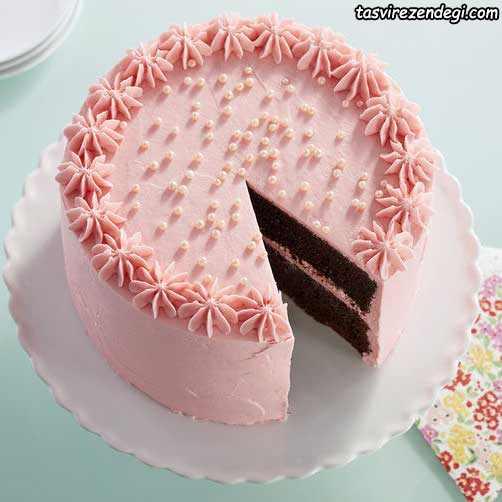 مدل ساده تریین کیک با ماسوره
