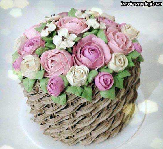 تریین کیک با ماسوره شکل سبد گل