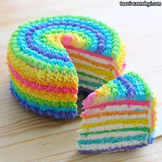 تریین کیک رنگین کمانی با ماسوره