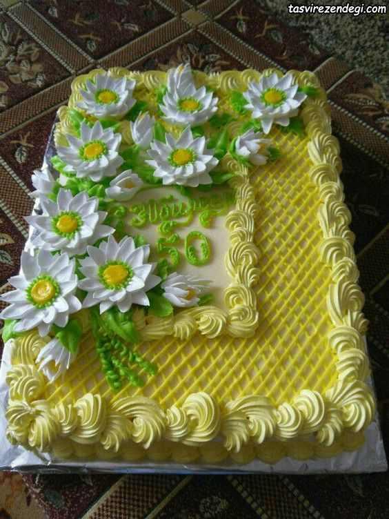 تریین کیک چهارگوش با ماسوره